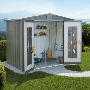 Abri de jardin métal 9.48 m² Ep. 0,53 mm Europa 4A Biohort gris PLANTES ET JARDINS JARDINERIE EN LIGNE