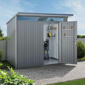 Abri de jardin en métal AvantGarde L 5,72 m² Ep. 0,53 mm gris PLANTES ET JARDINS JARDINERIE EN LIGNE