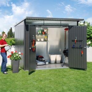 Abri de jardin en métal double porte L 5,72 m² Ep. 0,53 mm AvantGarde de la marque Biohort gris PLANTES ET JARDINS JARDINERIE EN LIGNE