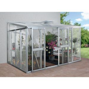 Serre adossée Héléna en verre trempé 8.85 m² grise – Lams