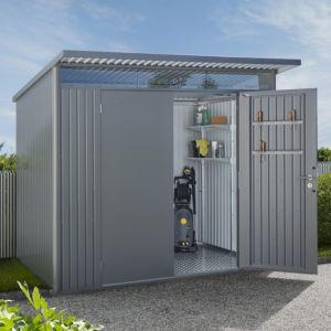 Abri de jardin en métal 7,8 m² Ep. 0,53 mm AvantGarde Biohort gris quartz PLANTES ET JARDINS JARDINERIE EN LIGNE