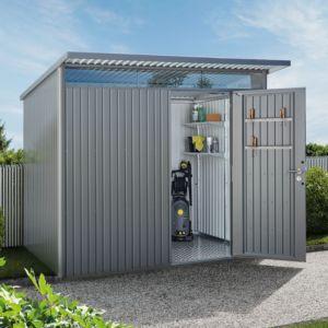 Abri de jardin en métal 9,88 m² Ep. 0,53 mm AvantGarde Biohort gris PLANTES ET JARDINS JARDINERIE EN LIGNE