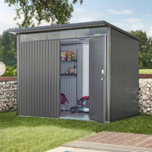 Abri de jardin en métal de 9,8 m² Ep. 0,53 mm AvantGarde Biohort gris foncé PLANTES ET JARDINS JARDINERIE EN LIGNE