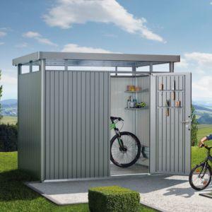 Abri de jardin métal 7,56 m² Ep. 0,53 mm HighLine Biohort gris PLANTES-ET-JARDINS – Jardinerie en ligne