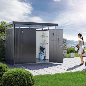Abri de jardin métal double porte 7,56 m² Ep. 0,53 mm HighLine Biohort gris foncé PLANTES-ET-JARDINS – Jardinerie en ligne