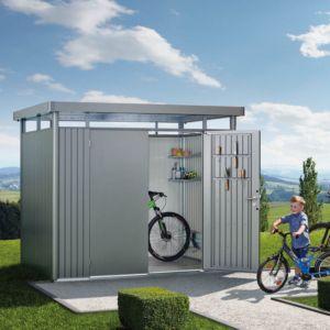 Abri de jardin métal double porte 7,56 m² Ep. 0,53 mm HighLine Biohort gris PLANTES-ET-JARDINS – Jardinerie en ligne