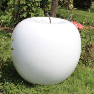 Pomme décorative XXL Ø77 cm résine blanc PLANTES-ET-JARDINS – Jardinerie en ligne
