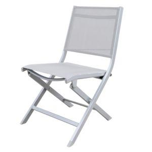 Chaise pliante Kettler Lille aluminium/textilène blanc PLANTES-ET-JARDINS – Jardinerie en ligne