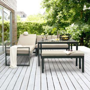 Salon de jardin Kettler Océan en aluminium : canapé d'angle + table + banc PLANTES-ET-JARDINS – Jardinerie en ligne