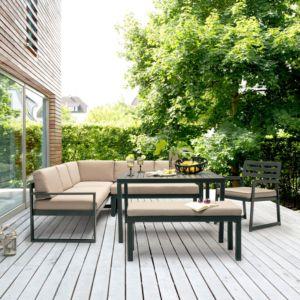 Salon de jardin Kettler Océan : canapé d'angle + table + banc + fauteuil PLANTES-ET-JARDINS – Jardinerie en ligne