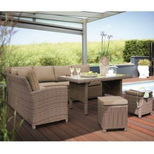 Salon de jardin Kettler Marbella en résine tressée : canapé + table + 2 tabourets PLANTES-ET-JARDINS – Jardinerie en ligne