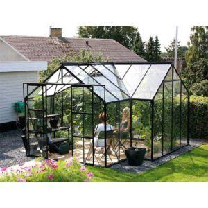 Serre Orangerie en verre trempé 13 m² noir – Lams