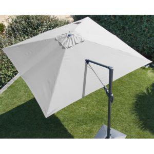 Parasol déporté orientable en aluminium 3×3 m blanc