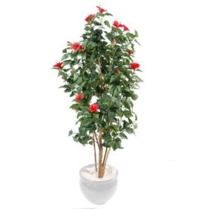 Hibiscus rouge 150 cm (feuillage artificiel)