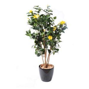 Hibiscus jaune, 1m50 (tronc naturel, feuillage artificiel) + pot classique (Hibiscus )