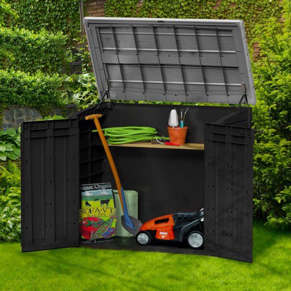 Coffre de jardin en résine multifonctions 1200L gris/noir ...
