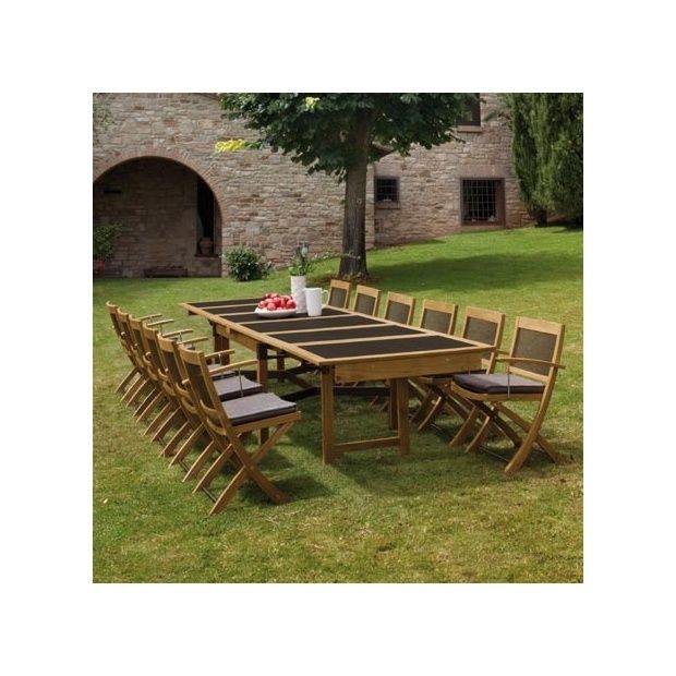 Salon de jardin 8 places cetra en teck et acier 1 table for Salon jardin naterial