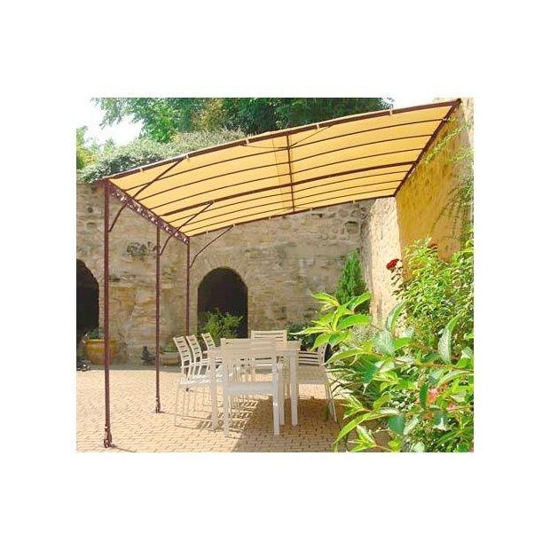 tonnelle adoss e 4 x 3m en fer forg galvanis toile acrylique 220g m plantes et jardins. Black Bedroom Furniture Sets. Home Design Ideas