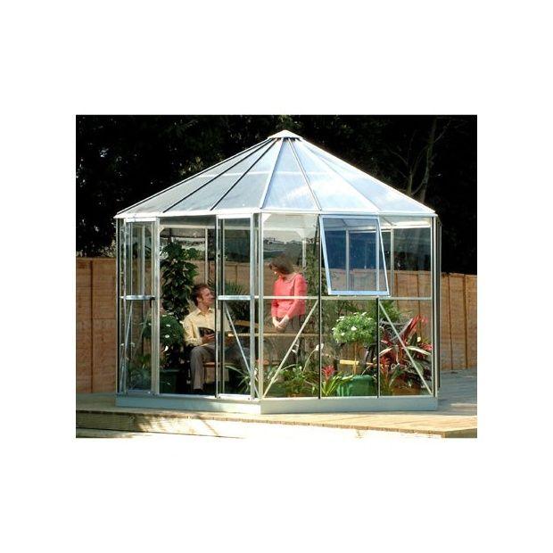 Serre atrium lams en verre horticole et polycarbonate 9m alu naturel emb - Serre polycarbonate 9m2 ...