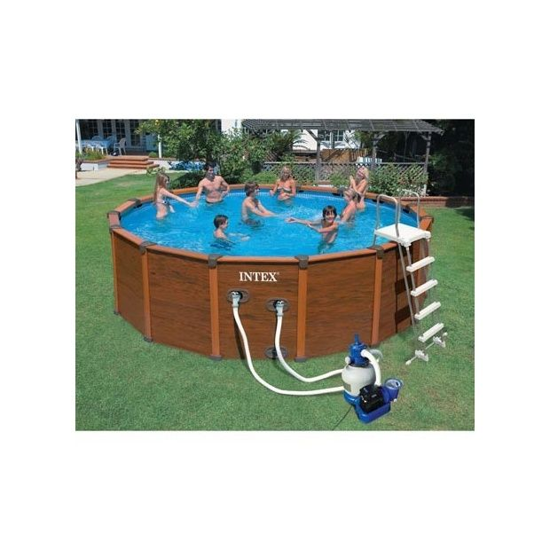 Kit piscine aspect bois sequoia intex d 5 08 m x h 1 24 for Piscine intex 5 m