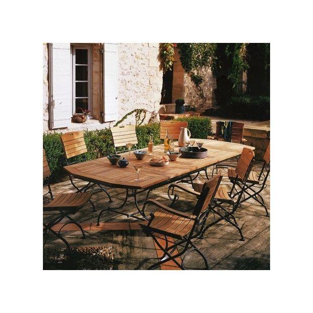 Salon de jardin en teck et fer forge des - Table jardin tresse ...