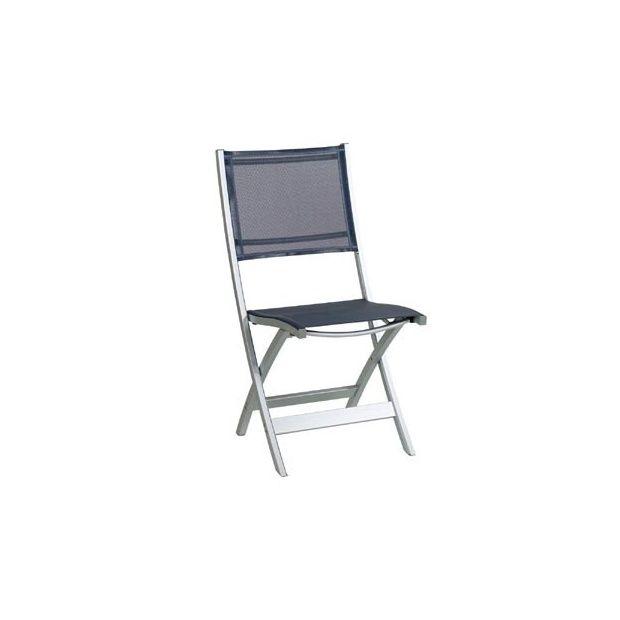 Chaise pliante en aluminium et textil ne gris anthracite - Chaise gris anthracite ...