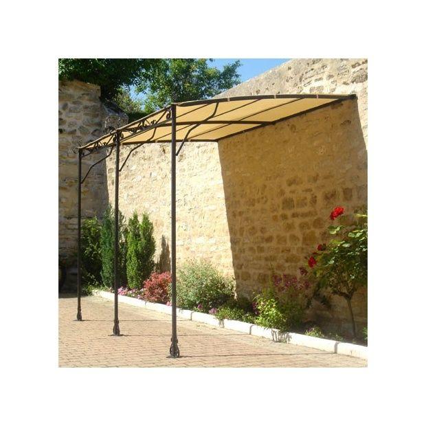 Tonnelle adoss e 2x3m avec toile d 39 ombrage plantes et - Accrocher toile au mur ...