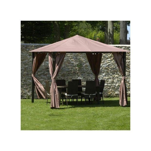 tonnelle sh razade 3x3m avec toile polyester 180g m avec rideaux plantes et jardins. Black Bedroom Furniture Sets. Home Design Ideas