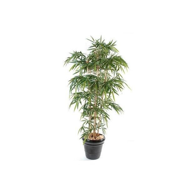 bambou 6 chaumes h120cm tronc naturel feuillage artificiel pot classique plantes et jardins. Black Bedroom Furniture Sets. Home Design Ideas