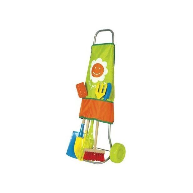 Chariot de jardinage pour enfants 7 outils house of toys - Support pour outils de jardin ...