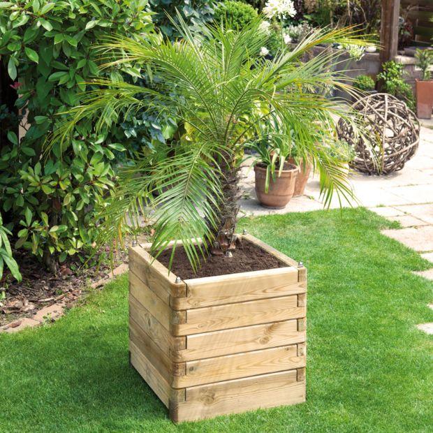 bac fleurs bois trait l50 h50 cm ol a plantes et jardins. Black Bedroom Furniture Sets. Home Design Ideas