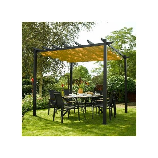 pergola rowlinson noire en aluminium avec toile coulissante plantes et jardins. Black Bedroom Furniture Sets. Home Design Ideas