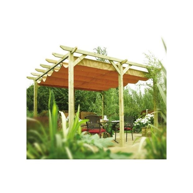 pergola rowlinson en bois avec toile coulissante plantes et jardins. Black Bedroom Furniture Sets. Home Design Ideas