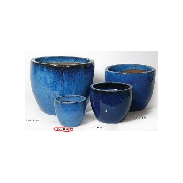 Pot rond maill bleu d25h22 plantes et jardins for Destockage plantes jardin
