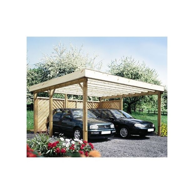 carport autoportant hockenheim bois 500x524cm toit plat couverture alu plantes et jardins. Black Bedroom Furniture Sets. Home Design Ideas