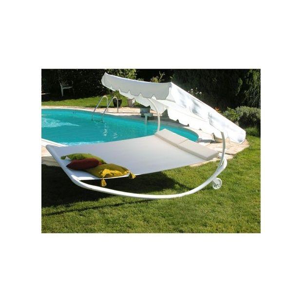 bain de soleil 2 places bascule avec roulettes blanc. Black Bedroom Furniture Sets. Home Design Ideas