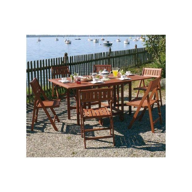 Salon de jardin en bois Keruing: table pliante + 6 chaises ...