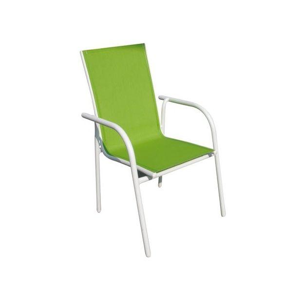 Fauteuil en aluminium et textil ne vert anis plantes et jardins - Fauteuil crapaud vert anis ...