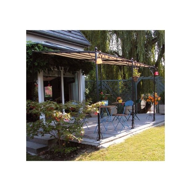 tonnelle carmen en fer forg 3 5 x 2 5 m toit en polyester dream garden plantes et jardins. Black Bedroom Furniture Sets. Home Design Ideas