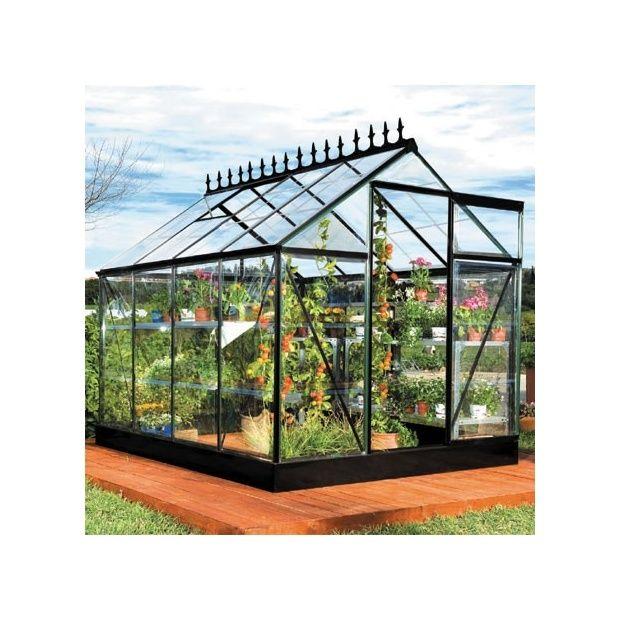 Serre victorienne 5m noire en polycarbonate transparent et embase plantes - Serre polycarbonate transparent ...