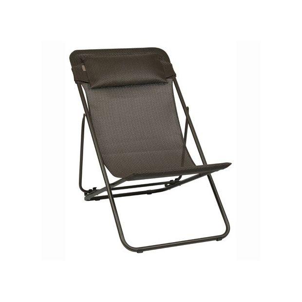 Chaise longue pliante 39 moka 39 transatube xl plus lafuma for Chaise longue pliante matelassee