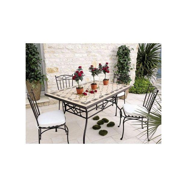 Table de jardin mosaique en marbre naturel 150 x 100 cm plantes et jardins - Table jardin mosaique jardiland perpignan ...
