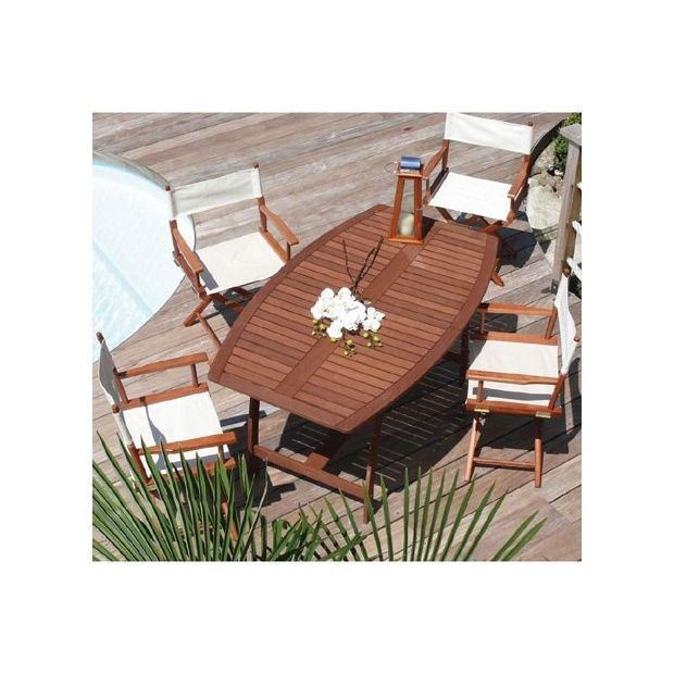salon de jardin en bois exotique table ovale 6 chaises dream garden plantes et jardins. Black Bedroom Furniture Sets. Home Design Ideas