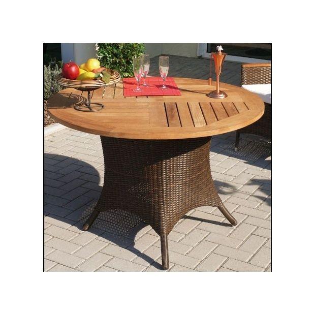 Table de jardin ronde avec plateau en teck et pieds en - Table de jardin avec pied central ...