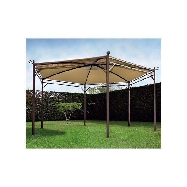 tonnelle privil ge hexagonale en acier et toile 400 gr m pvc proloisirs plantes et jardins. Black Bedroom Furniture Sets. Home Design Ideas