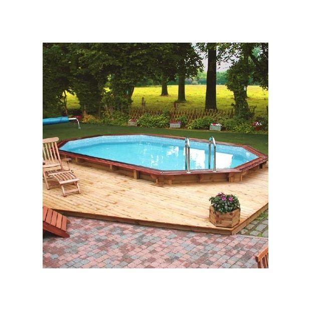 Piscine Confort de Luxe 502 x 352 cm Margelle double Bois exotique Liner Bleu Plantes  # Margelle Piscine Bois Exotique