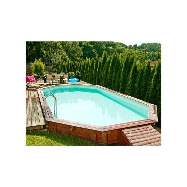 Piscine Confort de Luxe 640 x 400 cm Margelle double bois exotique Liner Bleu Plantes