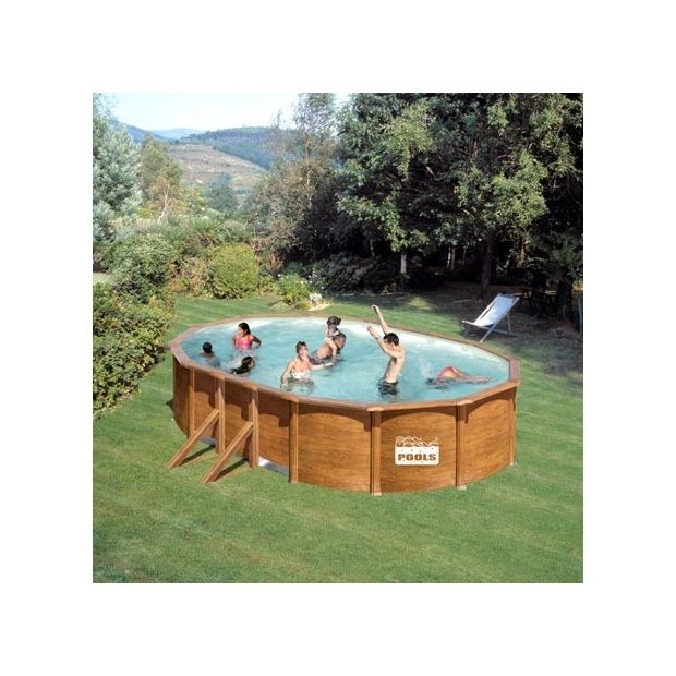 Kit piscine san marina acier aspect bois 500 x 300 x h for Piscine acier aspect bois intex