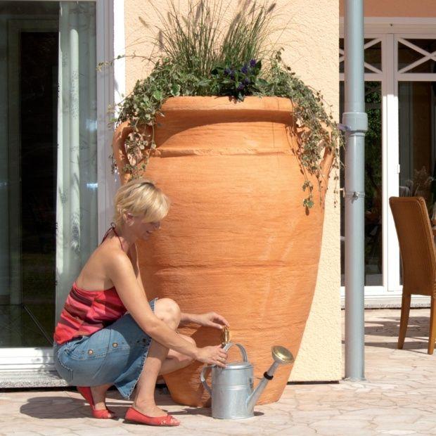 r cup rateur d 39 eau amphore antik terracotta 250 litres garantia plantes et jardins. Black Bedroom Furniture Sets. Home Design Ideas
