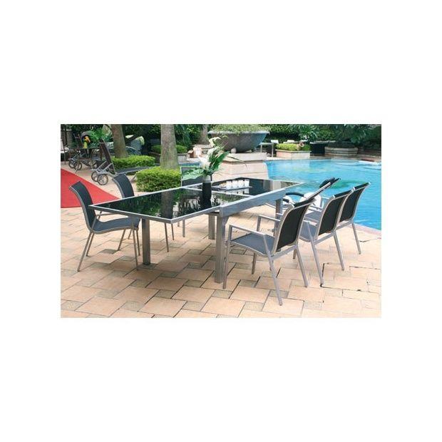 Table De Jardin Aluminium Plateau Extensible En Verre 135 270 Cm Plantes Et Jardins